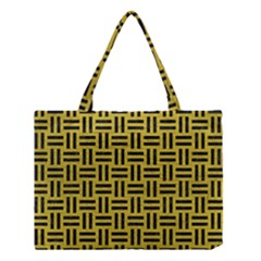 Woven1 Black Marble & Yellow Leather Medium Tote Bag by trendistuff