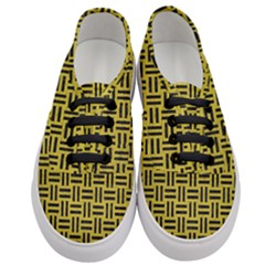 Woven1 Black Marble & Yellow Leather Women s Classic Low Top Sneakers