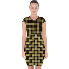 Woven1 Black Marble & Yellow Leather (r) Capsleeve Drawstring Dress