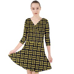 Woven1 Black Marble & Yellow Leather (r) Quarter Sleeve Front Wrap Dress