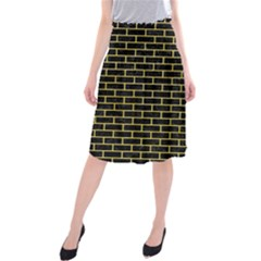 Brick1 Black Marble & Yellow Watercolor (r) Midi Beach Skirt