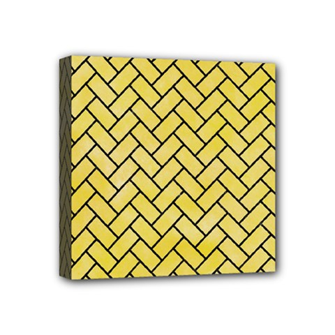 Brick2 Black Marble & Yellow Watercolor Mini Canvas 4  X 4  by trendistuff