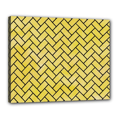 Brick2 Black Marble & Yellow Watercolor Canvas 20  X 16  by trendistuff