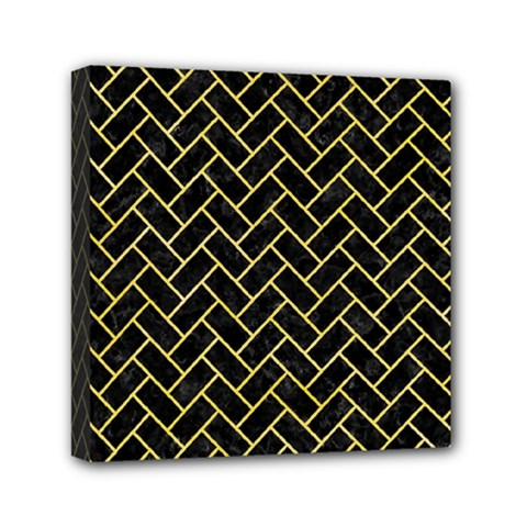 Brick2 Black Marble & Yellow Watercolor (r) Mini Canvas 6  X 6  by trendistuff
