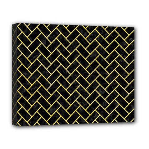 Brick2 Black Marble & Yellow Watercolor (r) Deluxe Canvas 20  X 16   by trendistuff