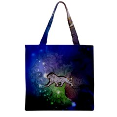 Wonderful Lion Silhouette On Dark Colorful Background Grocery Tote Bag by FantasyWorld7