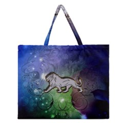 Wonderful Lion Silhouette On Dark Colorful Background Zipper Large Tote Bag by FantasyWorld7