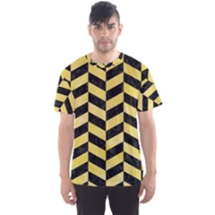 Chevron1 Black Marble & Yellow Watercolor Men s Sports Mesh Tee