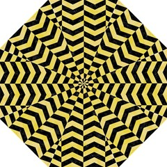 Chevron2 Black Marble & Yellow Watercolor Hook Handle Umbrellas (large) by trendistuff