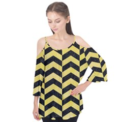 Chevron2 Black Marble & Yellow Watercolor Flutter Tees