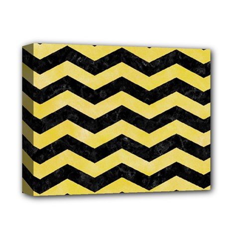 Chevron3 Black Marble & Yellow Watercolor Deluxe Canvas 14  X 11  by trendistuff