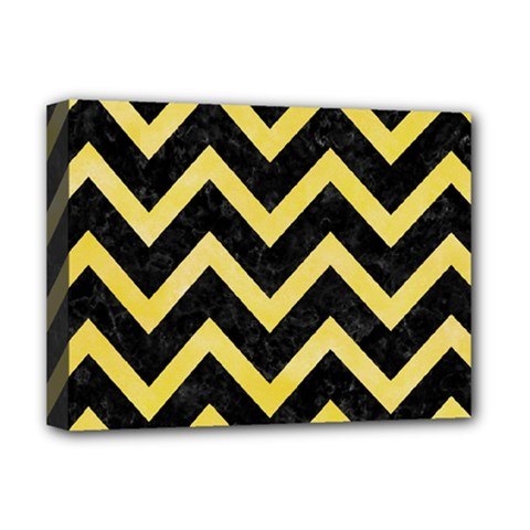 Chevron9 Black Marble & Yellow Watercolor (r) Deluxe Canvas 16  X 12