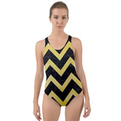 Chevron9 Black Marble & Yellow Watercolor (r) Cut Out Back One Piece Swimsuit by trendistuff