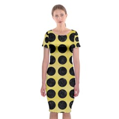 Circles1 Black Marble & Yellow Watercolor Classic Short Sleeve Midi Dress