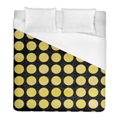 Circles1 Black Marble & Yellow Watercolor (r) Duvet Cover (full/ Double Size) by trendistuff