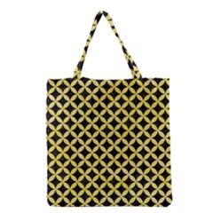 Circles3 Black Marble & Yellow Watercolor (r) Grocery Tote Bag by trendistuff