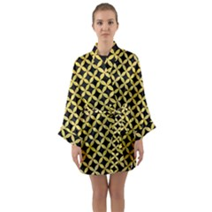 Circles3 Black Marble & Yellow Watercolor (r) Long Sleeve Kimono Robe