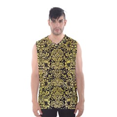 Damask2 Black Marble & Yellow Watercolor (r) Men s Basketball Tank Top
