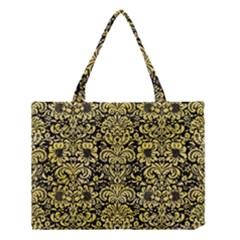 Damask2 Black Marble & Yellow Watercolor (r) Medium Tote Bag by trendistuff