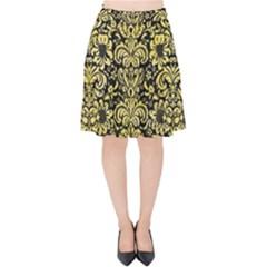 Damask2 Black Marble & Yellow Watercolor (r) Velvet High Waist Skirt by trendistuff