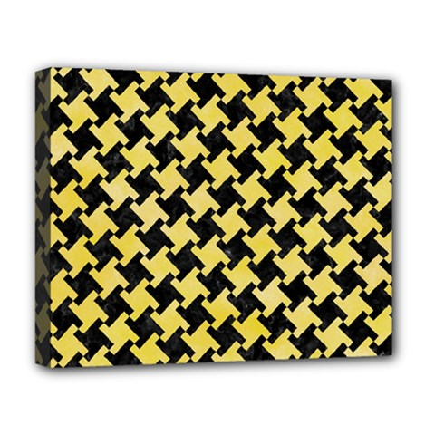 Houndstooth2 Black Marble & Yellow Watercolor Deluxe Canvas 20  X 16   by trendistuff