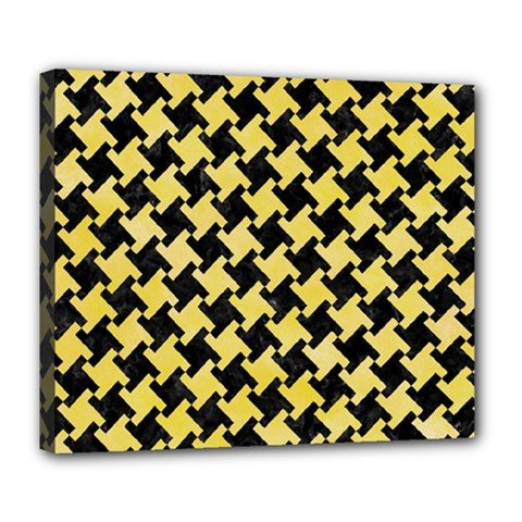 Houndstooth2 Black Marble & Yellow Watercolor Deluxe Canvas 24  X 20   by trendistuff