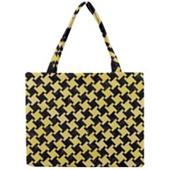 Houndstooth2 Black Marble & Yellow Watercolor Mini Tote Bag by trendistuff
