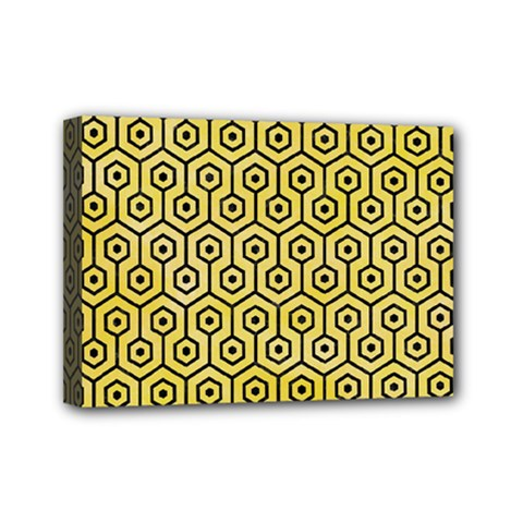 Hexagon1 Black Marble & Yellow Watercolor Mini Canvas 7  X 5  by trendistuff