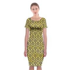 Hexagon1 Black Marble & Yellow Watercolor Classic Short Sleeve Midi Dress by trendistuff