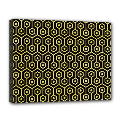 Hexagon1 Black Marble & Yellow Watercolor (r) Canvas 14  X 11  by trendistuff