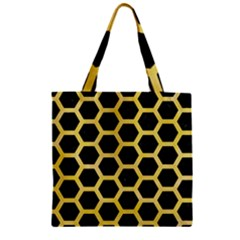 Hexagon2 Black Marble & Yellow Watercolor (r) Zipper Grocery Tote Bag by trendistuff