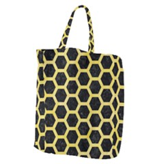 Hexagon2 Black Marble & Yellow Watercolor (r) Giant Grocery Zipper Tote by trendistuff