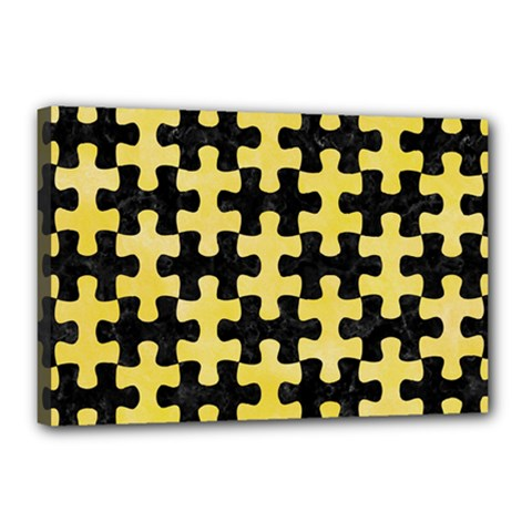 Puzzle1 Black Marble & Yellow Watercolor Canvas 18  X 12