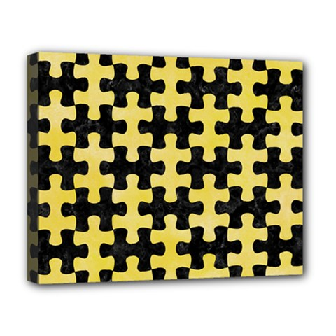 Puzzle1 Black Marble & Yellow Watercolor Deluxe Canvas 20  X 16   by trendistuff