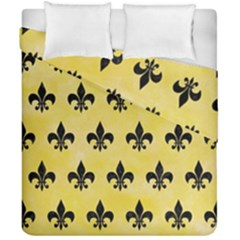 Royal1 Black Marble & Yellow Watercolor (r) Duvet Cover Double Side (california King Size) by trendistuff