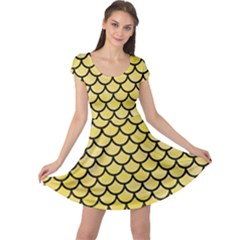 Scales1 Black Marble & Yellow Watercolor Cap Sleeve Dress