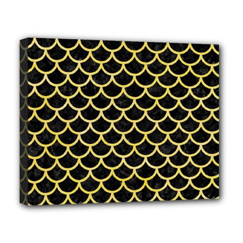 Scales1 Black Marble & Yellow Watercolor (r) Deluxe Canvas 20  X 16