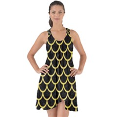 Scales1 Black Marble & Yellow Watercolor (r) Show Some Back Chiffon Dress by trendistuff