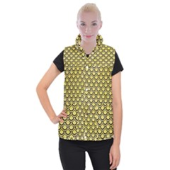 Scales2 Black Marble & Yellow Watercolor Women s Button Up Puffer Vest