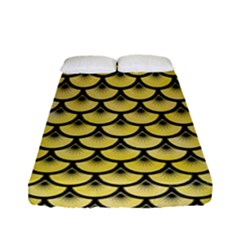 Scales3 Black Marble & Yellow Watercolor Fitted Sheet (full/ Double Size) by trendistuff
