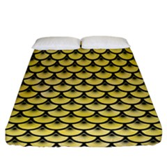 Scales3 Black Marble & Yellow Watercolor Fitted Sheet (california King Size) by trendistuff