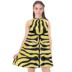 Skin2 Black Marble & Yellow Watercolor Halter Neckline Chiffon Dress