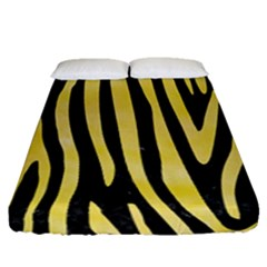 Skin4 Black Marble & Yellow Watercolor Fitted Sheet (queen Size) by trendistuff