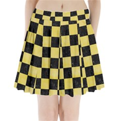 Square1 Black Marble & Yellow Watercolor Pleated Mini Skirt