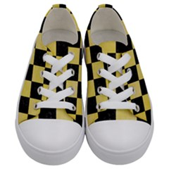 Square1 Black Marble & Yellow Watercolor Kids  Low Top Canvas Sneakers