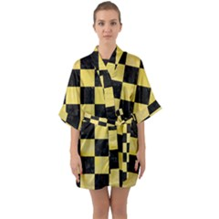 Square1 Black Marble & Yellow Watercolor Quarter Sleeve Kimono Robe
