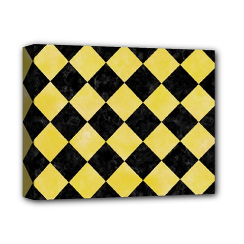 Square2 Black Marble & Yellow Watercolor Deluxe Canvas 14  X 11  by trendistuff