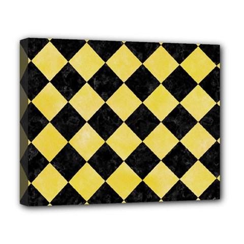 Square2 Black Marble & Yellow Watercolor Deluxe Canvas 20  X 16   by trendistuff