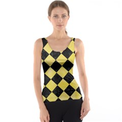 Square2 Black Marble & Yellow Watercolor Tank Top