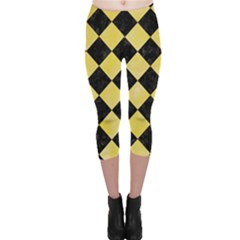 Square2 Black Marble & Yellow Watercolor Capri Leggings